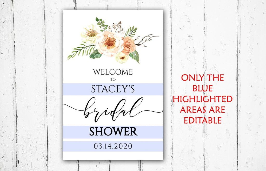 Bridal Shower Welcome Sign Template, Country Bridal Shower Sign, Bridal Shower Printable | Rustica | Edit Online