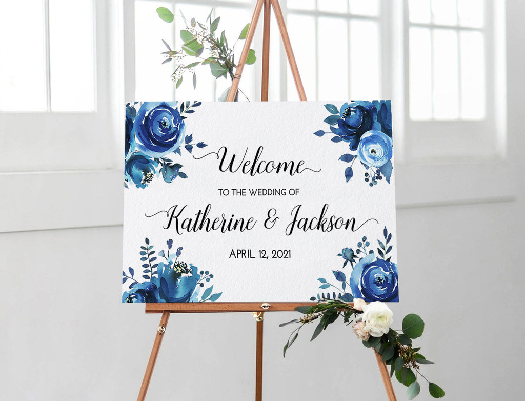 "DIY Printable Wedding Welcome Sign Template ""Blue Peonies"" Wedding Sign, Engagement Sign Bridal Shower, Wedding Template, Edit TEXT Online"