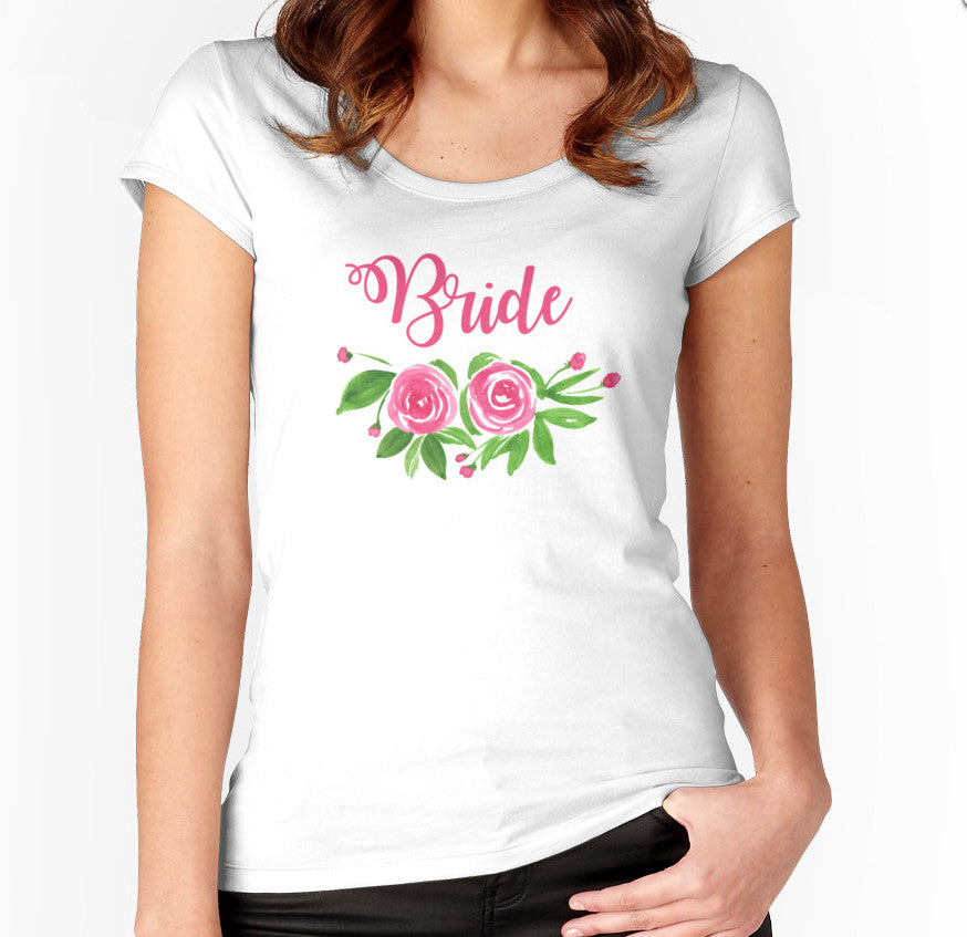 Bride TShirt Gift - Bachelorette Party Gift - Bride's Shirt Bridal Shower Gift - Bridal Party Shirt - Watercolor Floral TShirt - Bride Tee