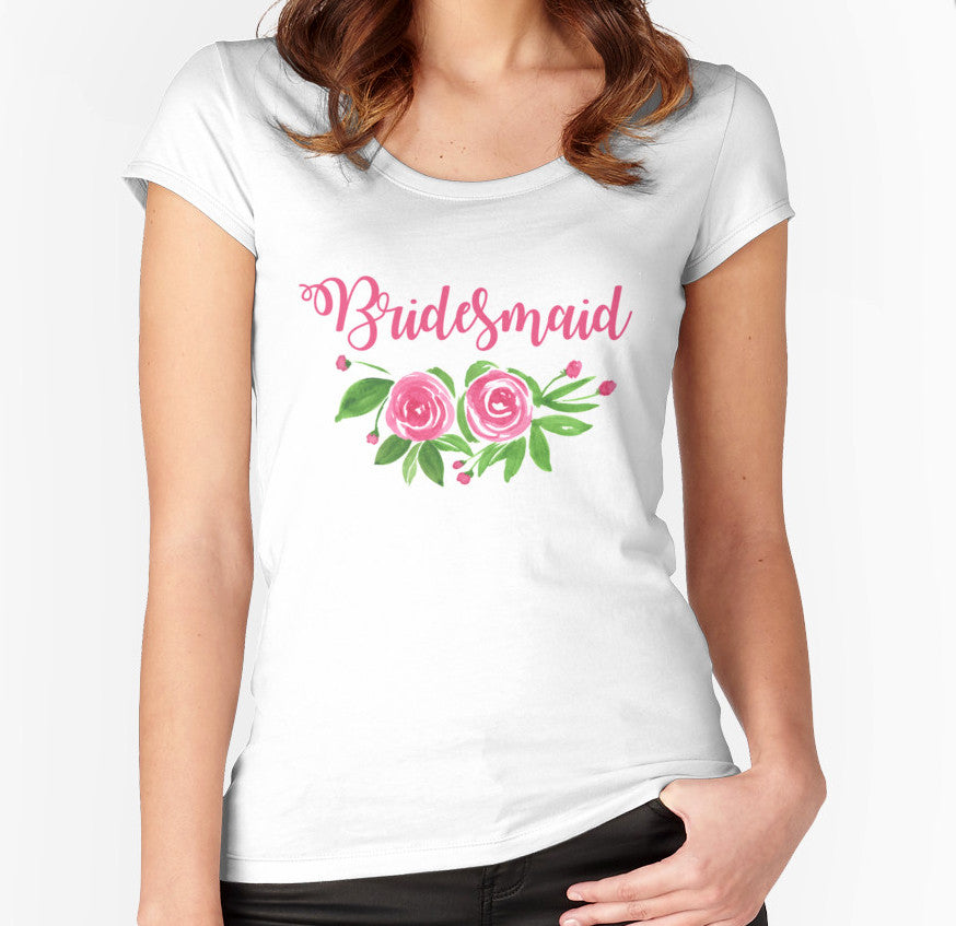 Bridesmaid TShirt Gift - Bridesmaid Gift - Bridesmaid Shirt Bridal Squad Gift - Bridal Party Shirt - Watercolor Floral TShirt Scoop Neck Tee