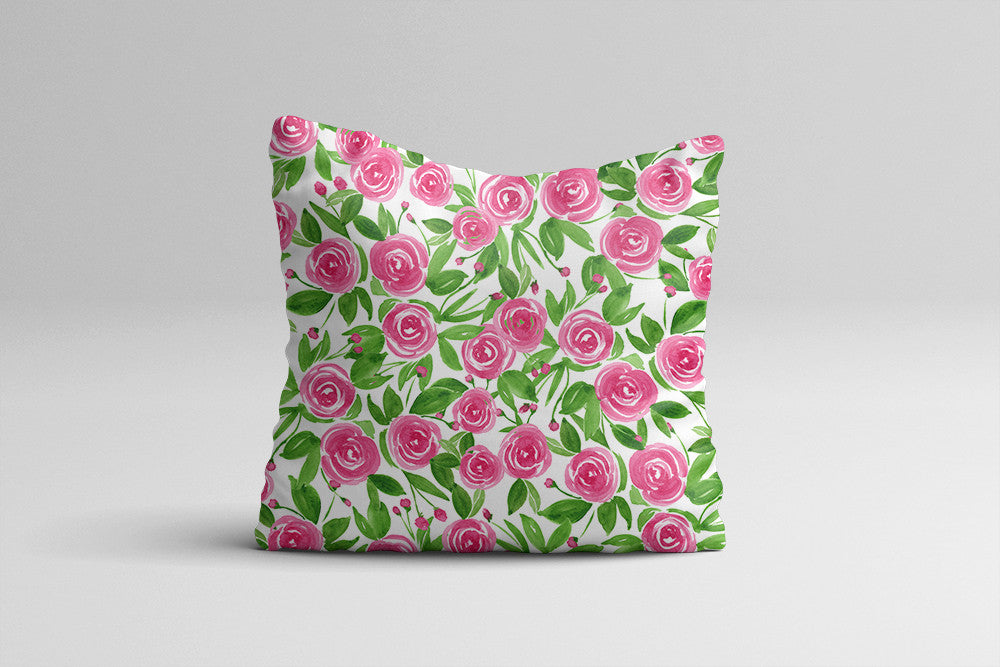 Sweet Roses - Watercolor Throw Pillow Cover