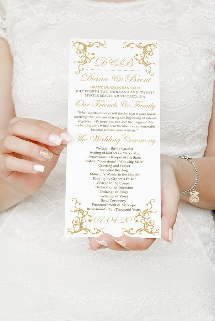 "Wedding Program Printable, Order of Service, Wedding Template, Tea Length Program Timeline ""Diana"" Ceremony Program"