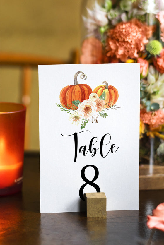 Rustica Pumpkins Table Number Template