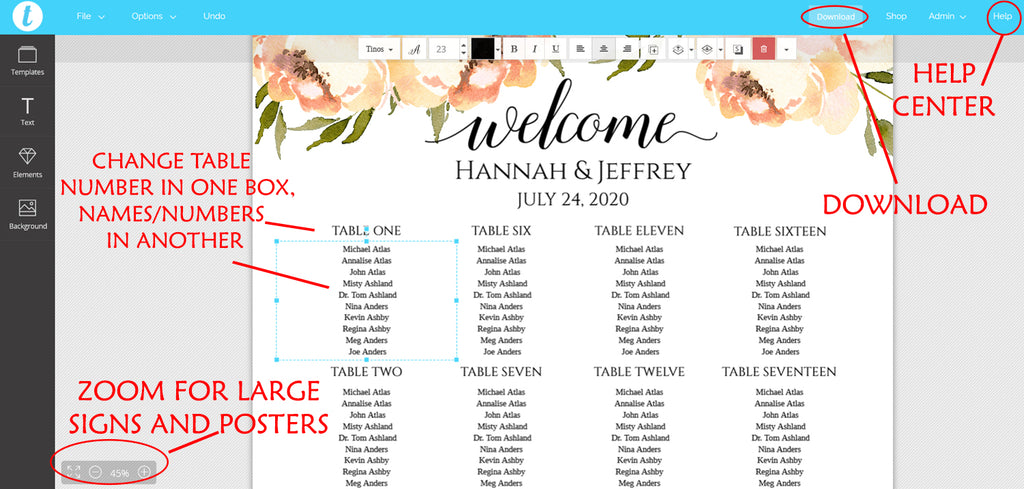 Peach Peonies Seating Chart Template