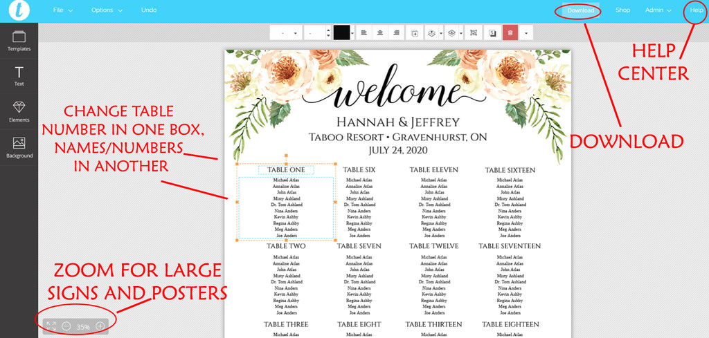 Rustic Seating Chart Template, Table Arrangement, Fall Wedding Reception Table Assignment | Rustica | EDIT ONLINE