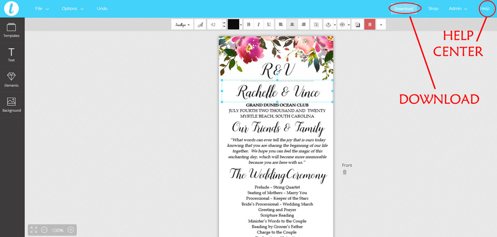 Fresh Bouquet Tea Length Program Template