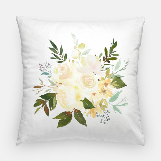 Vanilla Blossoms Bouquet Throw Pillow Cover