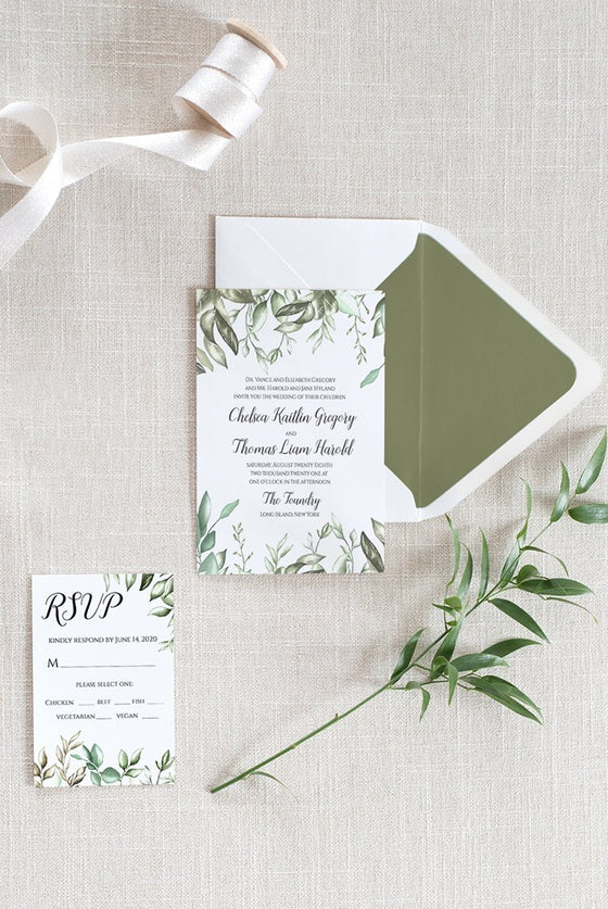 Greenery Wedding Invitation Template RSVP, Printable Invitation RSVP DiY Printable Wedding, Template Download, Edit Online in Templett