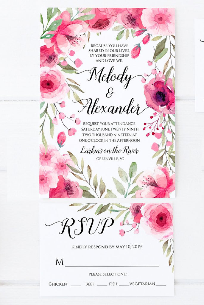 "Wedding Invitation Template RSVP, Printable Invitation ""Flora"" DiY Printable Wedding, Watercolor Template Download, Edit Online in Templett"
