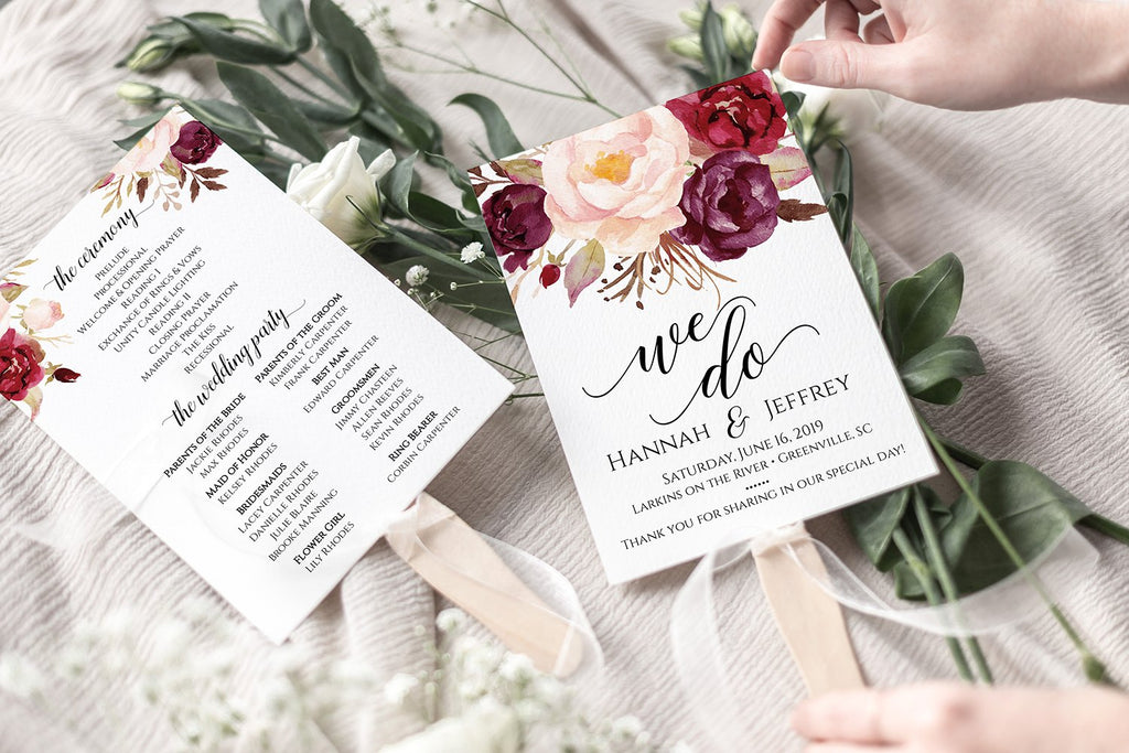 "We Do Wedding Program Fan, Printable Program Fan Template ""Marsala"" Ceremony Program, Printable Wedding Fan, Floral Wedding Programs"