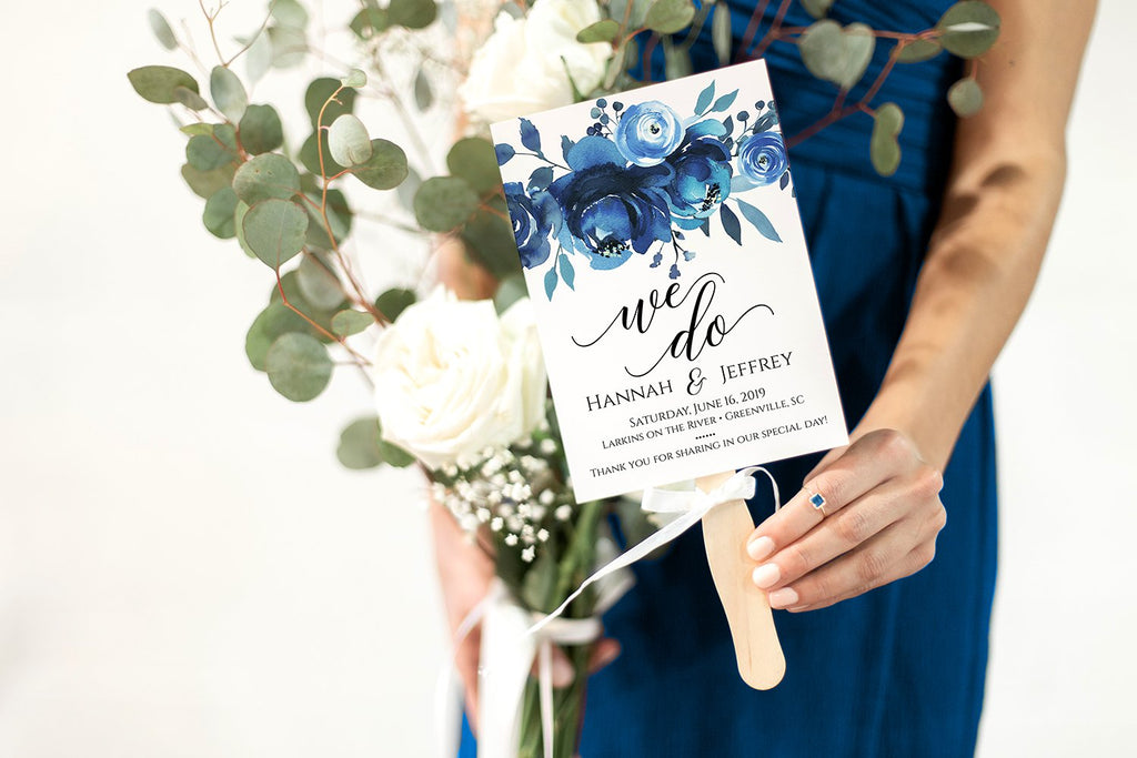 Floral Wedding Program Fan, Printable Program Fan Template, Order of Ceremony Program, Printable Wedding Fan, Wedding Programs, Blue Peonies