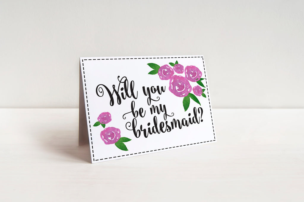 Fold Over Bridesmaid Proposal Card Watercolor Will You Be My Bridesmaid