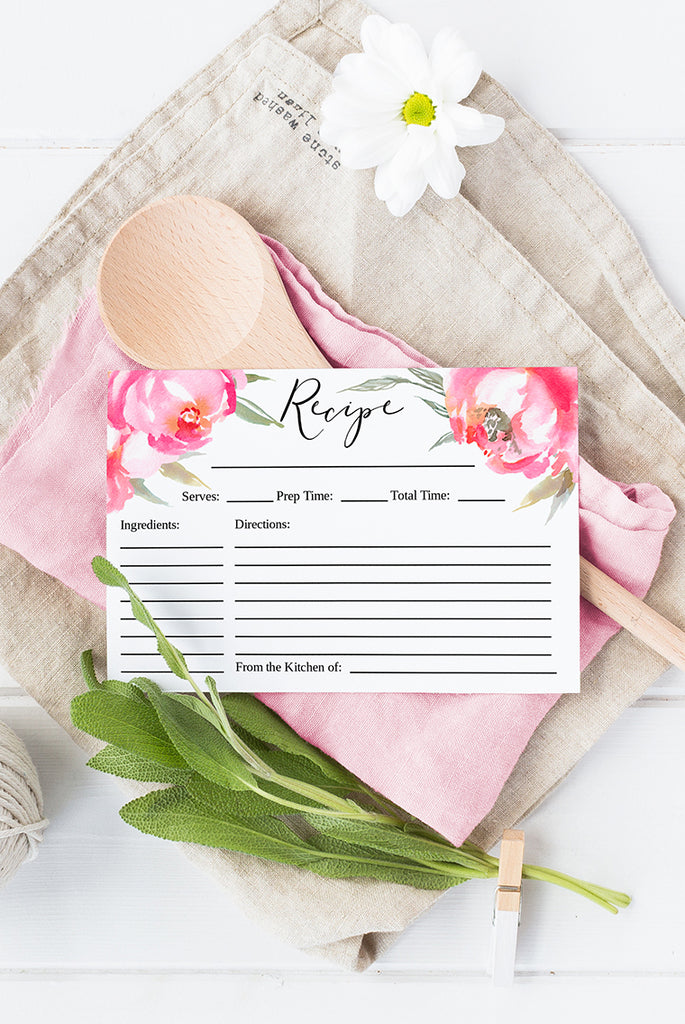 "Bridal Shower Recipe Card, Floral Recipe Card Printable, Bride to Be Gift, Pink Bridal Shower Gift - 4"" x 6"" Card 