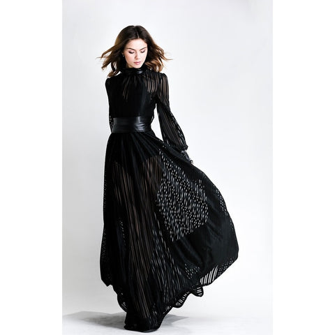 Black Long Sleeves Gown - Maison du Roi - 1