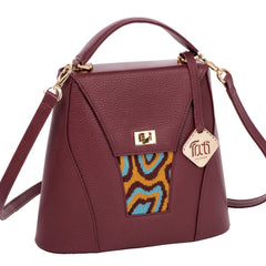 TATI BODUCH Designer Handbag, AGATE Collection, genuine leather: brown, knitwear: turquoise - Maison du Roi - 1