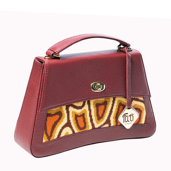 TATI BODUCH Designer Handbag, JASPER Collection, genuine leather: brown, knitwear: orange