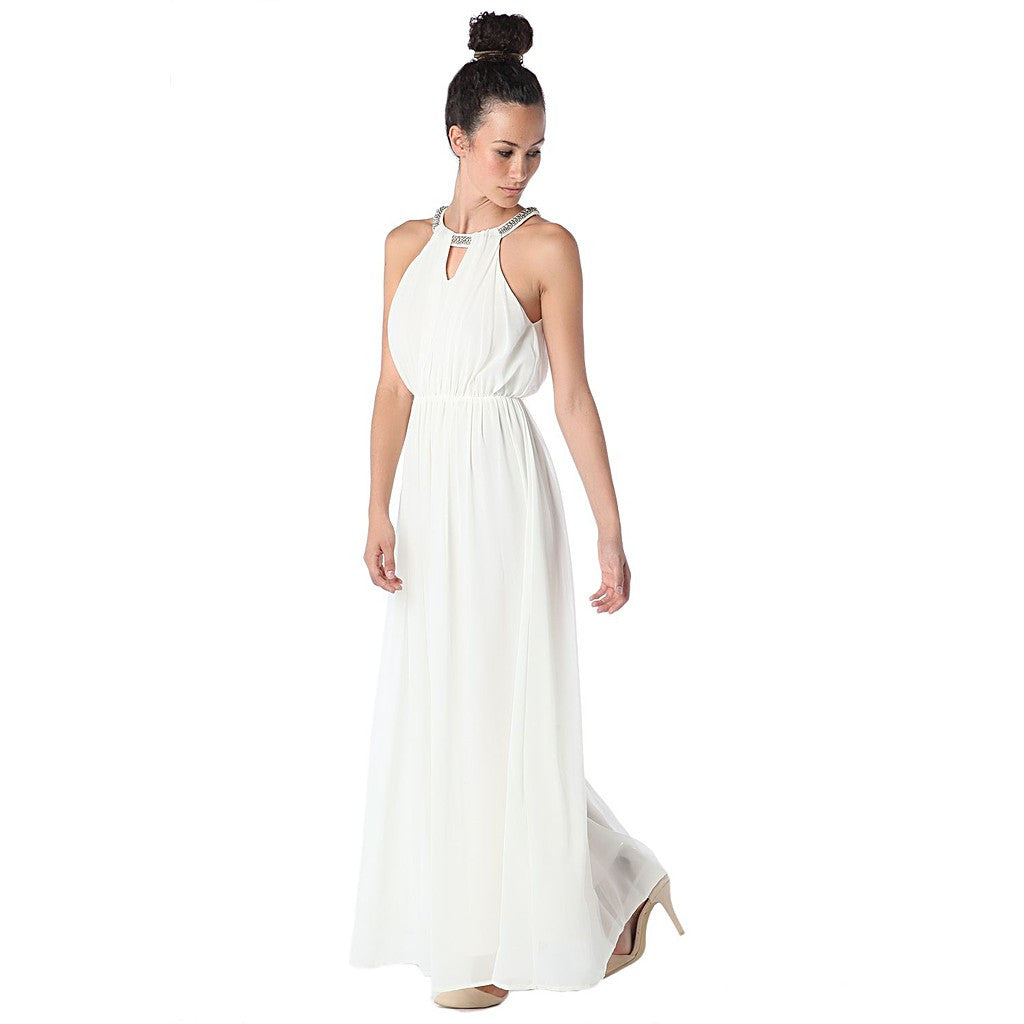 Cream halter neck chiffon maxi dress with embellished neckline - Maison du Roi - 2