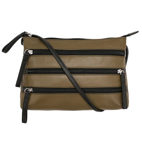 Leather Crossbody Bag with 3 Zippers - Olive/Black - Maison du Roi
