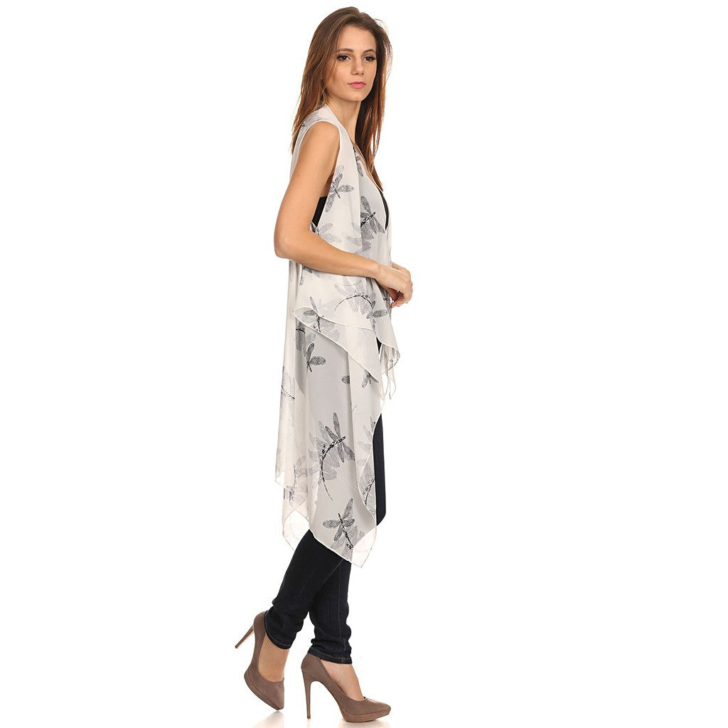Womens Mid-length Lightweight Open Front Sleeveless Poncho. Dragonfly pattern. - Maison du Roi - 6