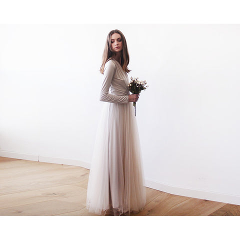 Champagne maxi tulle gown with long sleeves , Bridesmaids maxi champagne dress - Maison du Roi - 1