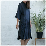Oversized Buttoned Shirt Dress,Dropped Waist Shirt Dress, Dark Grey. - Maison du Roi - 4