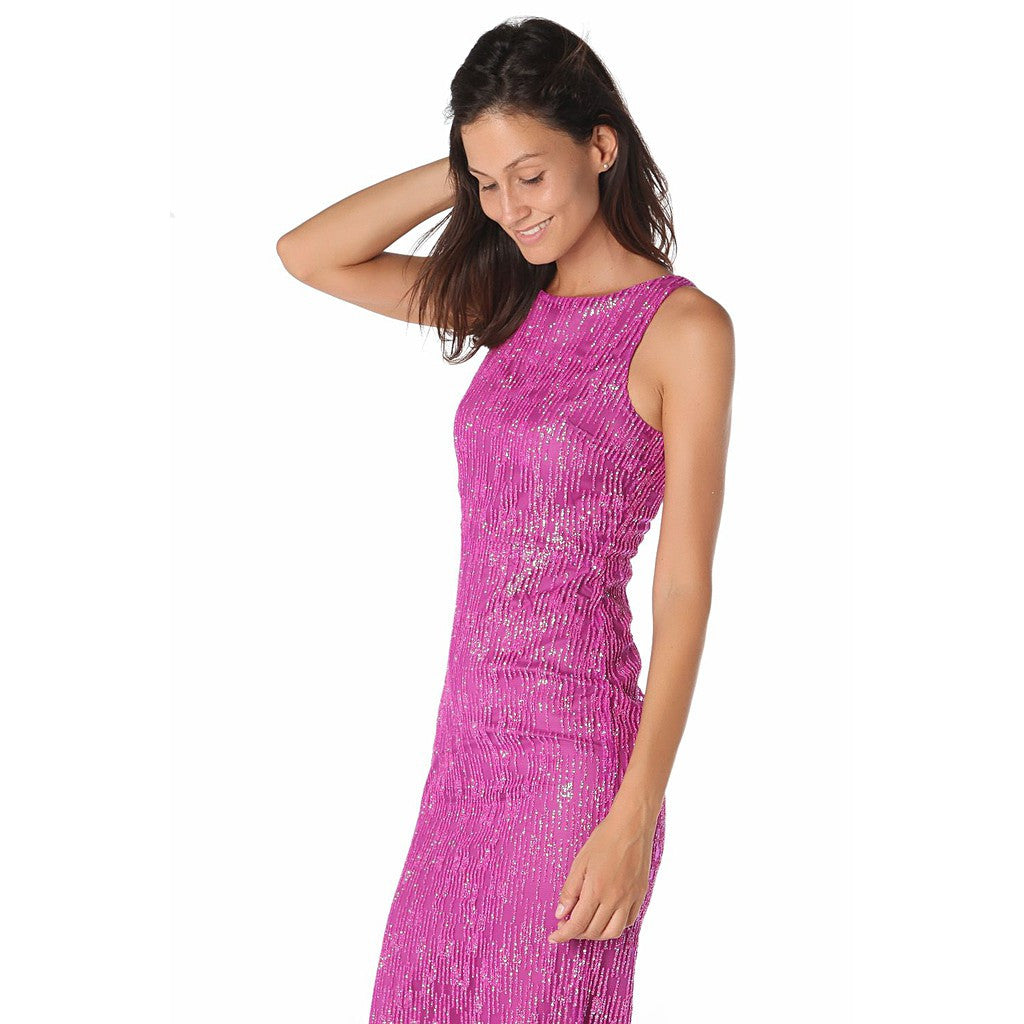 Fuchsia maxi dress with textured sparkle effect - Maison du Roi - 4