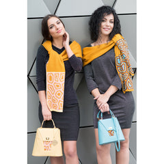 TATI BODUCH Designer Handbag, AGATE Collection, genuine leather: mustard, knitwear: turquoise - Maison du Roi - 4