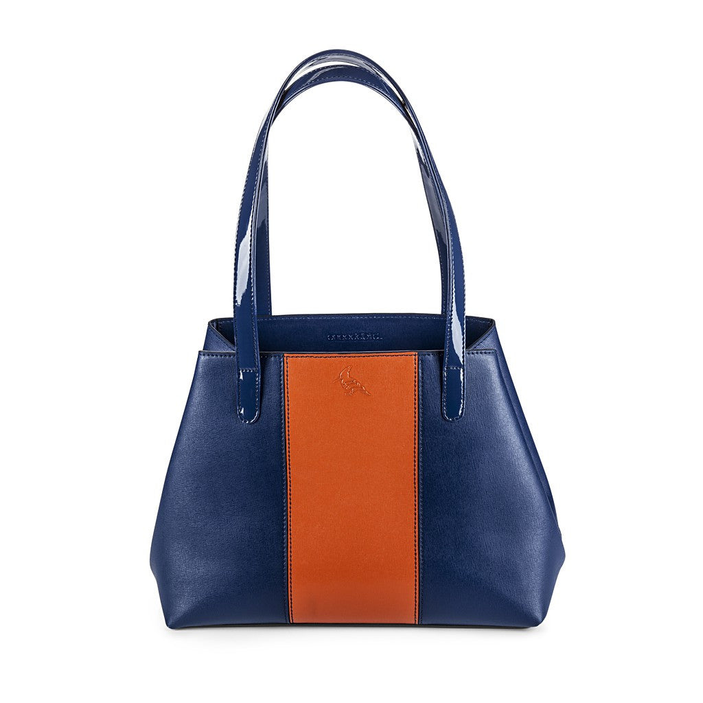 Navy/Orange Saffiano Leather Handbag - Lorikeet - Maison du Roi - 1