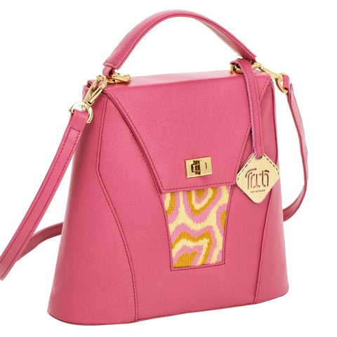TATI BODUCH Designer Handbag, AGATE Collection, genuine leather: pink, knitwear: pink