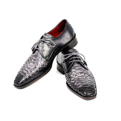 PAUL PARKMAN MEN'S GRAY AND BLACK GENUINE PYTHON & CALFSKIN DERBY SHOES (ID#PT59GRY) - Maison du Roi - 5