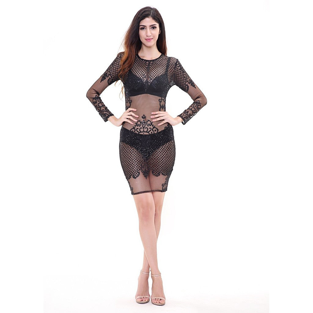 Black See Thru Dress - Maison du Roi - 4