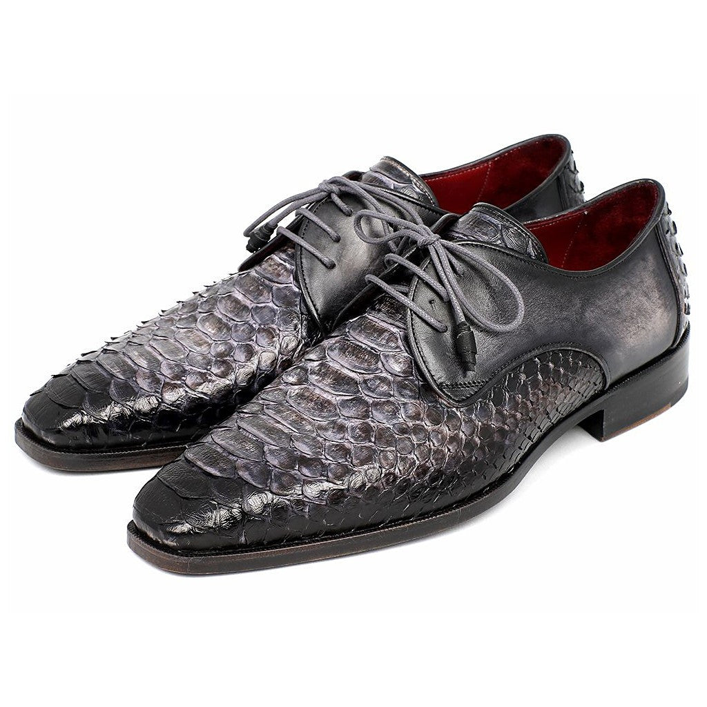 PAUL PARKMAN MEN'S GRAY AND BLACK GENUINE PYTHON & CALFSKIN DERBY SHOES (ID#PT59GRY) - Maison du Roi - 6
