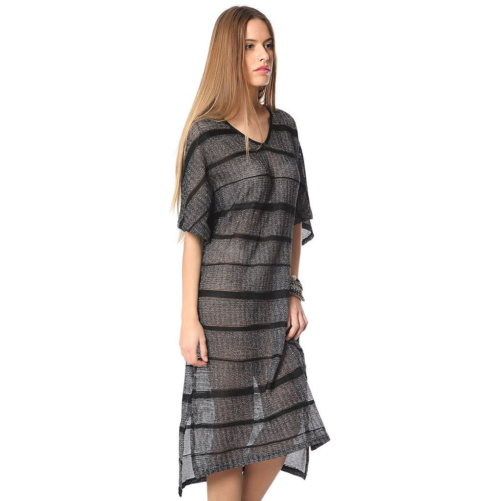 Stripe dress with cage detail - Maison du Roi - 3