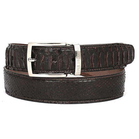 PAUL PARKMAN Men's Brown Genuine Python (snakeskin) Belt (ID#B03-BRW) - Maison du Roi - 1