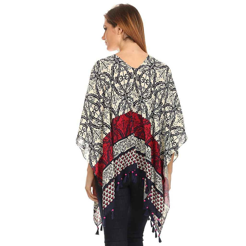 Womens Pullover Lightweight Poncho with Wooden Beaded Tassels - Maison du Roi - 2