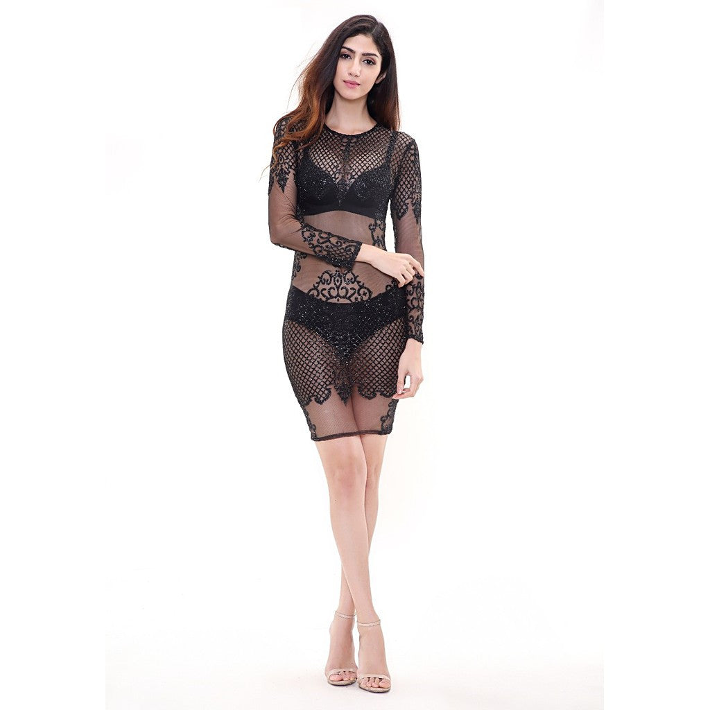Black See Thru Dress - Maison du Roi - 3