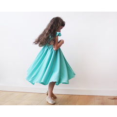 Turquoise girls butterfly dress - Maison du Roi - 5