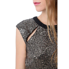 Golden sequin bodycon dress with open back - Maison du Roi - 4