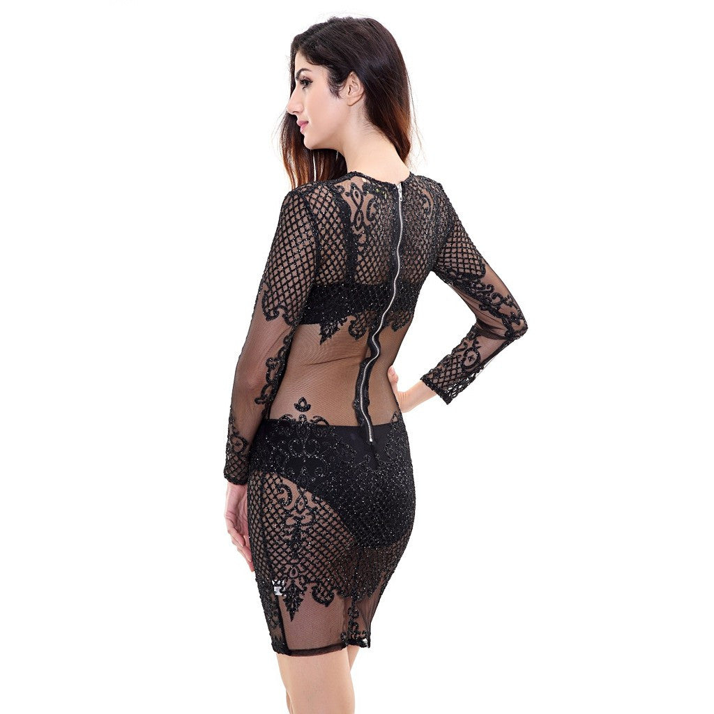 Black See Thru Dress - Maison du Roi - 2