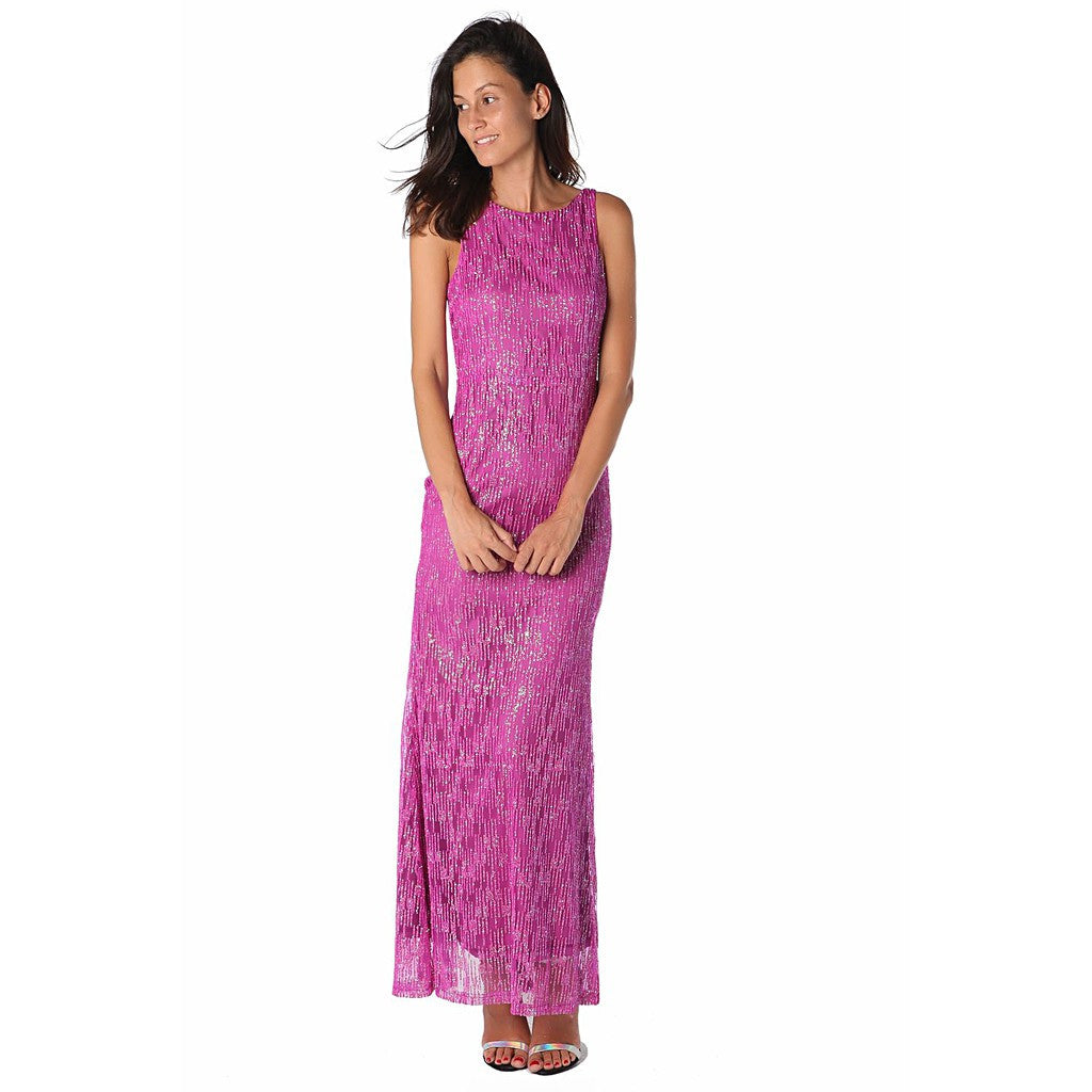Fuchsia maxi dress with textured sparkle effect - Maison du Roi - 3