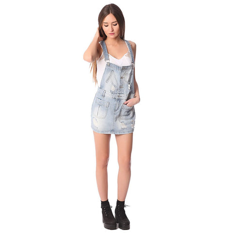 Denim mini pinafore dress with all over rips & distressing - Maison du Roi - 1