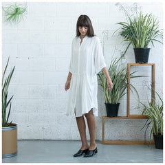 Oversized Buttoned Shirt Dress,Dropped Waist Shirt Dress, White. - Maison du Roi - 6