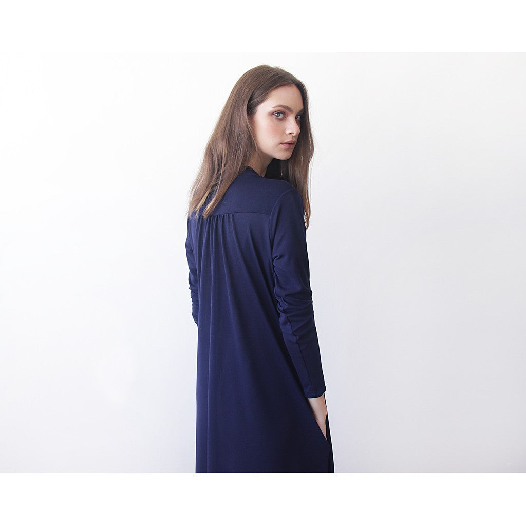 Dark blue maxi knit autumn coat, Knitted maxi blue cardigan with pockets - Maison du Roi - 2