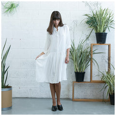Oversized Buttoned Shirt Dress,Dropped Waist Shirt Dress, White. - Maison du Roi - 5
