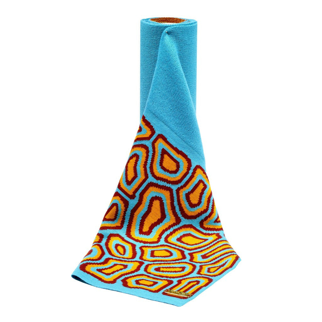 TATI BODUCH Merino Scarf,  AGATE Collection,  turquoise-turquoise - Maison du Roi - 1
