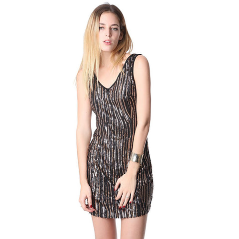 Black mini dress with lightweight golden sequinned mesh - Maison du Roi - 1