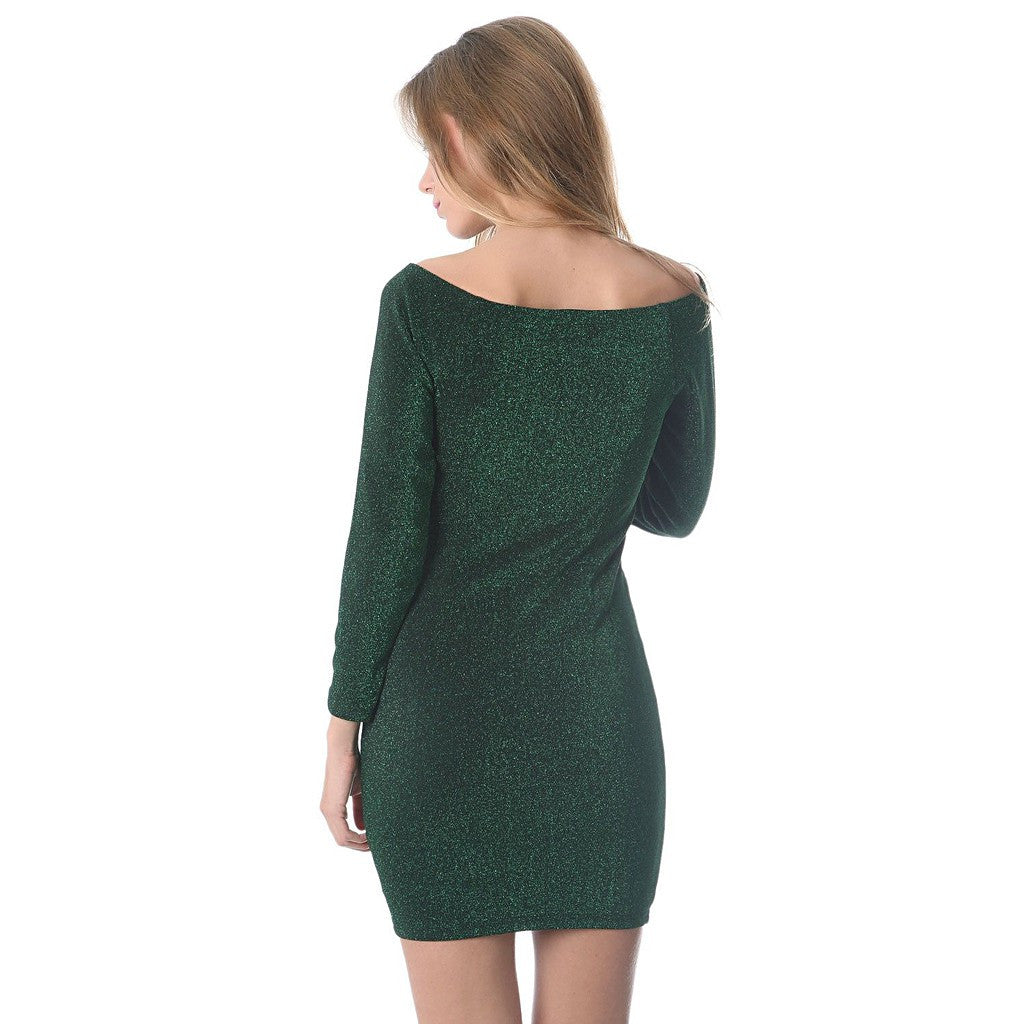 Green glitter mini bodycon dress - Maison du Roi - 2