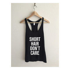 Short Hair Don't Care Fine Jersey Athletic Racerback Tank Top - Maison du Roi - 2