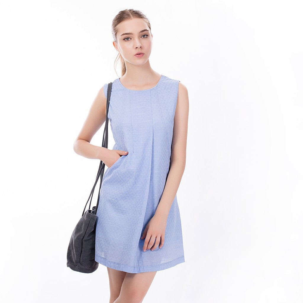 The Asymmetric Sundress in Blue - Maison du Roi - 4