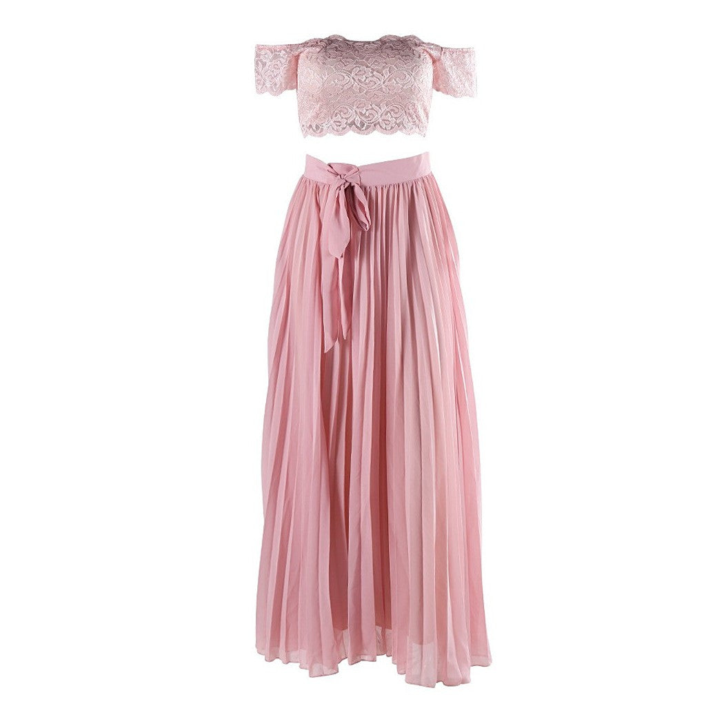 Two Piece Pink Dress - Maison du Roi - 2